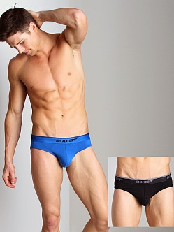 2xist Stretch No-Show Briefs 2-Pack Black/Skydiver