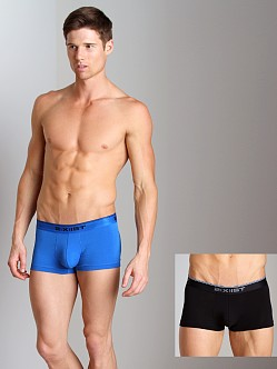 2xist Stretch No-Show Trunks 2-Pack Black/Skydiver