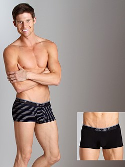 2xist Stretch No-Show Trunks 2-Pack Black/Black Stripe