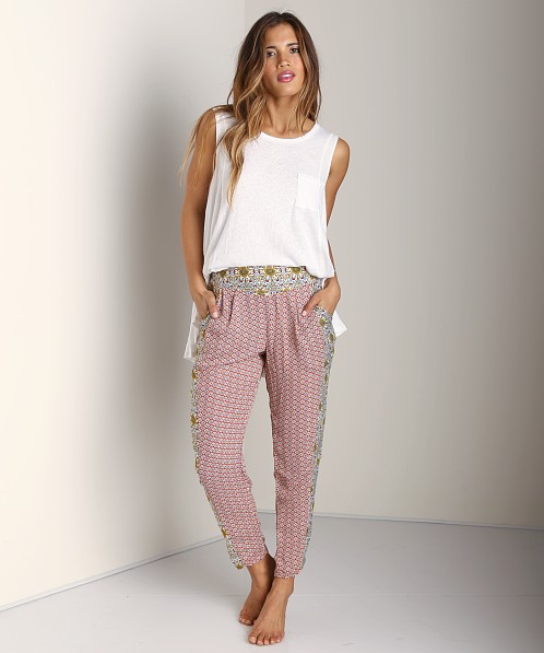 Free People Mixed Print Pleat Pant Red