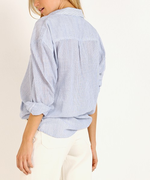 Rollas Slouch Stripe Shirt Blue/White