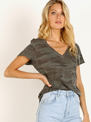 Splendid Kate Camo V Neck Tee Olive Brown
