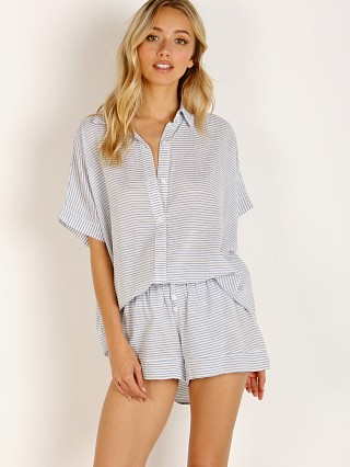 Eberjey Nautico Slouchy Short PJ Set White/Denim