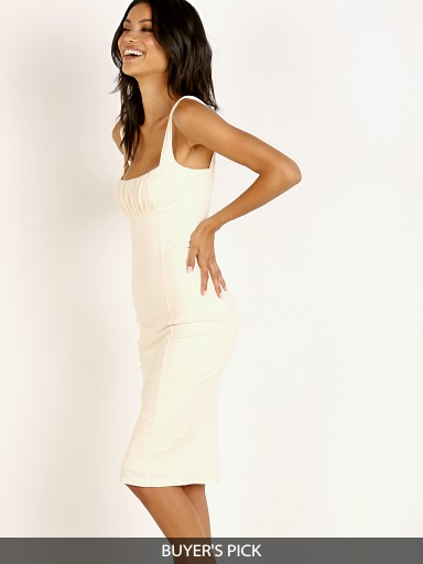 Model in ecru Capulet Jessa Midi Bodycon