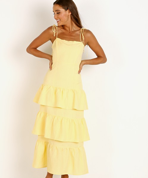 Capulet Quinn Tiered Dress Lemon