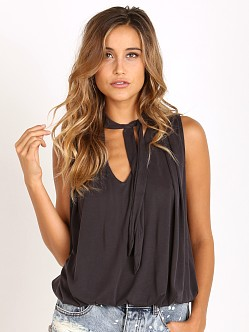 Free People Forget Me Knot Top Washed Black