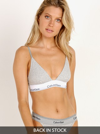 Model in grey heather Calvin Klein Modern Cotton Unlined Triangle Bra