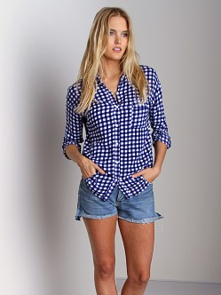 Splendid Gingham Button Down Navy