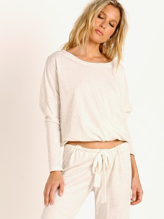 Model in oatmeal Eberjey Heather Slouchy Top