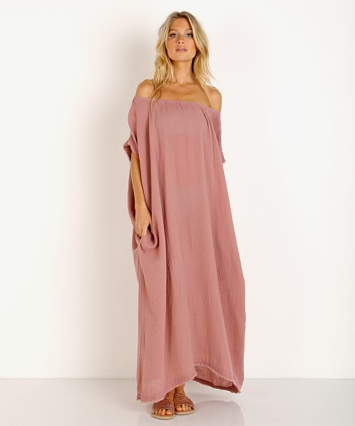 9 Seed Moonstone Off Shoulder Caftan Berry