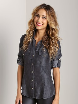 Bella Dahl Fitted Button Down Dark Rain Wash