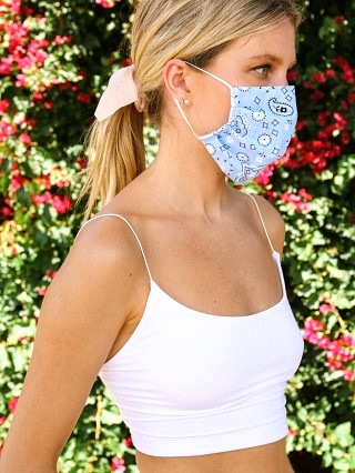 Largo Drive Fashion Face Mask Bandana Print Sky Blue