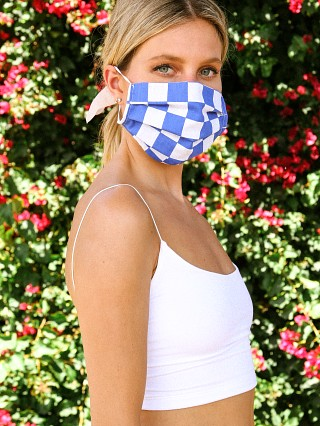 Model in blue checks Largo Drive Fashion Face Mask
