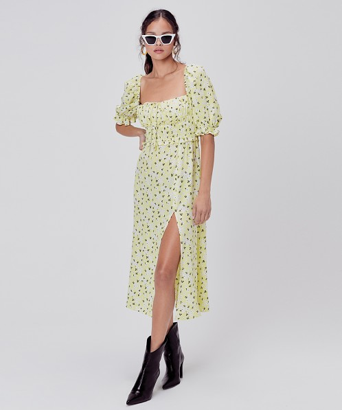 For Love & Lemons Chrysanthemum Midi Dress Lemonade