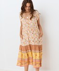 Spell Portobello Road Babydoll Midi Dress Honey Dew, view 3