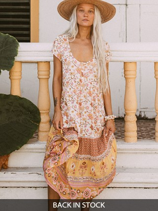 Spell & The Gypsy Portobello Road Babydoll Midi Dress Honey Dew
