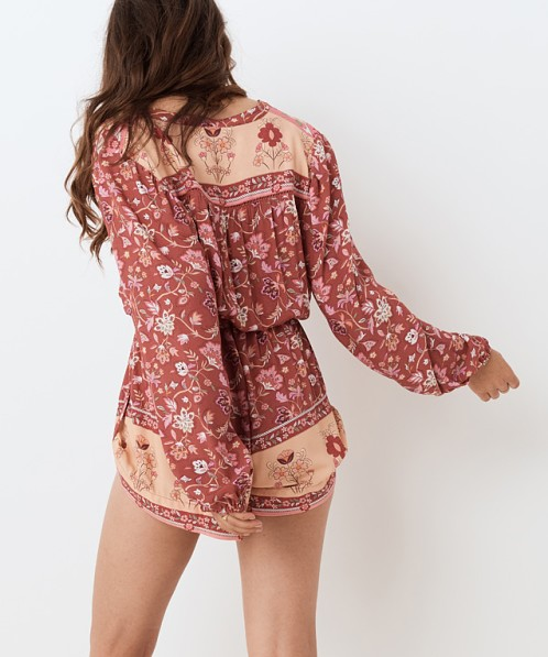Spell & The Gypsy Portobello Road Playsuit Wine