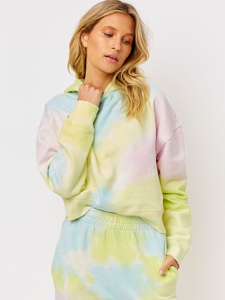 Model in rainbow tie dye Frankie's Bikinis Burl Sweatshirt