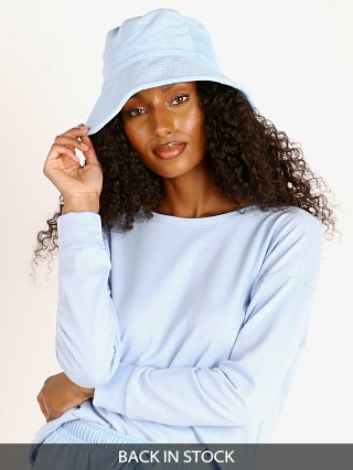 Model in baby blue terry Lack of Color Wave Bucket Hat