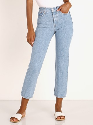Model in luxor lanes Levi's Wedgie Straight Jeans