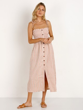 Faithfull the Brand Suki Midi Dress Brighton Stripe Vintage Pink