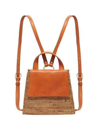Model in natural woven Beach Gold Tina Backpack