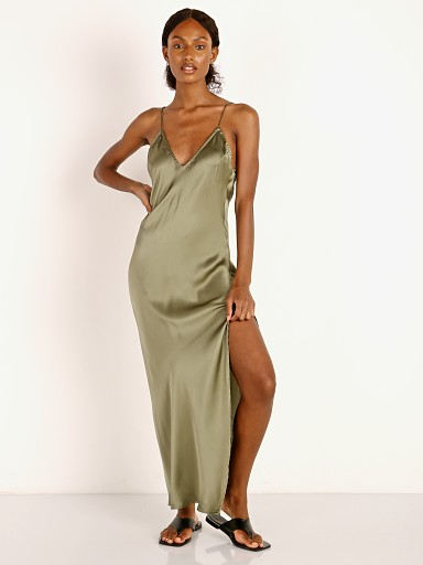 Model in frog Indah Danielle Simple Dias Maxi Dress