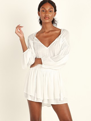 Indah Sashi Blouson Mini Dress White