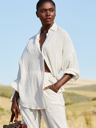 Indah Como Oversized Button Up Ivory