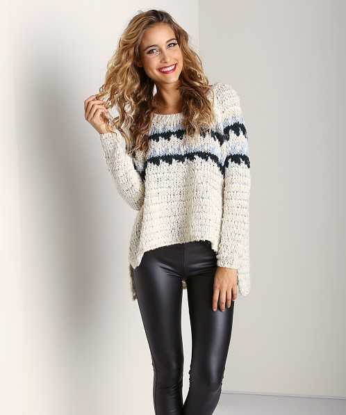 Free People Fuzzy Fairisle Snowflake Sweater