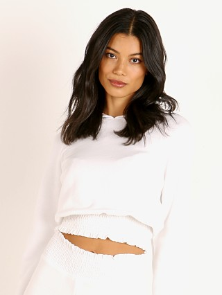 Beyond Yoga Let's Smock About It Cropped Hoodie White
