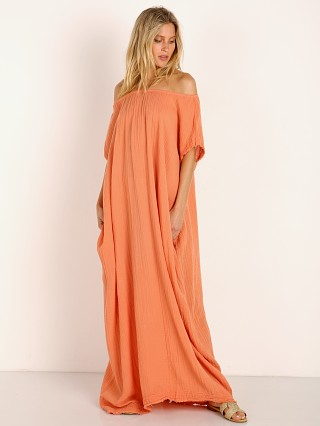 9seed Moonstone Off Shoulder Caftan Salmon