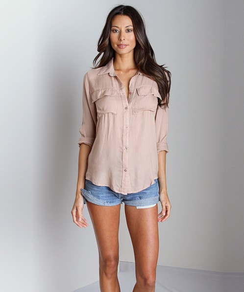 Bella Dahl Patch Pocket Button Down Shirt Antler