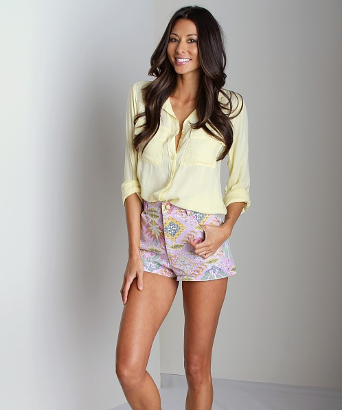 Bella Dahl Patch Pocket Button Down Shirt Lemonade