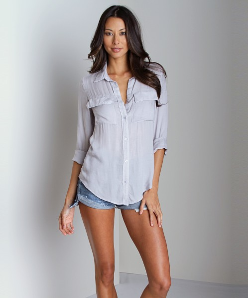 Bella Dahl Patch Pocket Button Down Shirt Silver