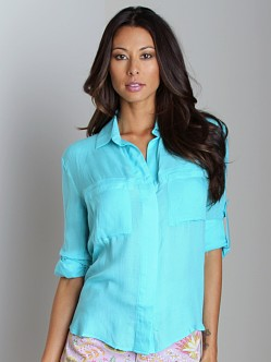 Bella Dahl Split Back Button Down Shirt Waterfall