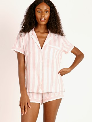 Model in ballet pink Eberjey Umbrella Stripes Woven Short PJ Set