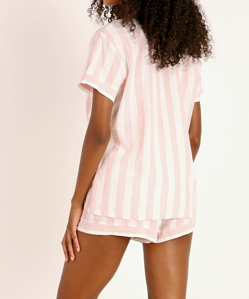 Eberjey Umbrella Stripes Woven Short PJ Set Ballet Pink