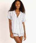 Eberjey Umbrella Stripes Woven Short PJ Set Skye Blue, view 2
