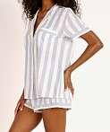 Eberjey Umbrella Stripes Woven Short PJ Set Skye Blue, view 3