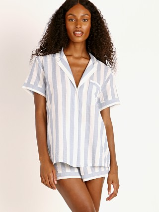 Model in skye blue Eberjey Umbrella Stripes Woven Short PJ Set