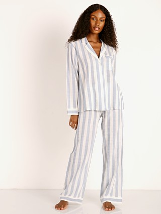 Model in skye blue Eberjey Umbrella Stripes Woven Long PJ Set