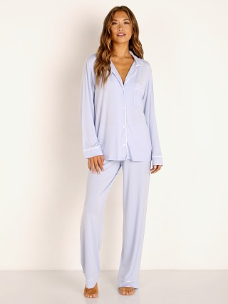 Model in light orchid Eberjey Gisele Long PJ Set