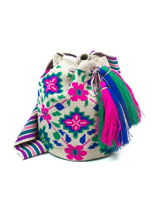 Guanabana Big Wayuu Bag Embroidered Pink/Blue/Green