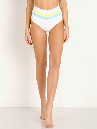 L Space Portia Stripe Bikini Bottom White Turq Lemonade