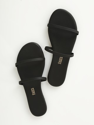 Model in matte black Tkees Gemma Vegan Matte Sandal Black
