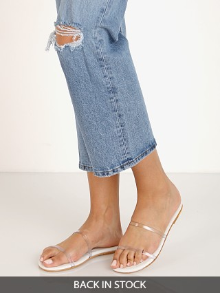 Model in clear Tkees Gemma Sandal