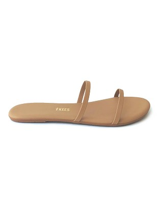 Model in matte nude Tkees Gemma Vegan Matte Sandal Nude
