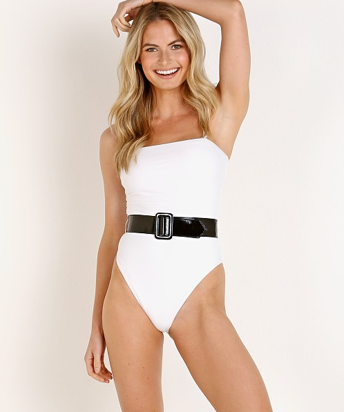 GIGI C bikinis Patricia One Piece White with Tricot Black Belt