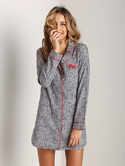 Juicy Couture Flannel Nightshirt Black Mini Cheetah
